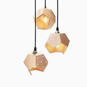 Lampada a sospensione Basic TWELVE Trio in legno di Plato Design