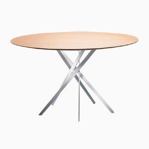 Table IKI avec Base Blancge Laquée & Plateau en Chêne Plaqué par Marco Zanuso Jr. pour Adentro