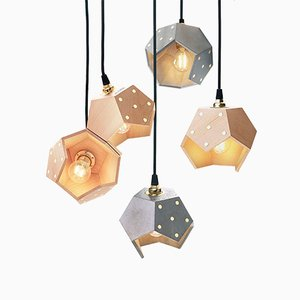 Basic TWELVE Quintet Concrete & Wood Pendant Lamp from Plato Design