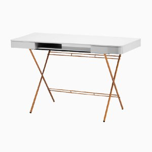 Cosimo Desk with Grey Glossy Lacquered Top & Golden Frame by Marco Zanuso Jr. for Adentro