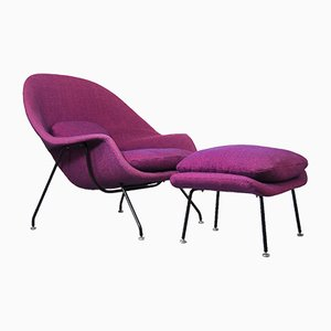 Womb Armchair and Footstool Set by Eero Saarinen for Knoll International, 1960s