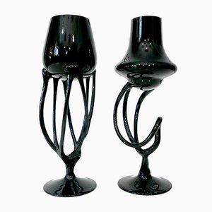 Handgemachte Makora Kerzenhalter aus schwarzem Glas von Krosno, 1970er, 2er Set