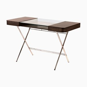 Cosimo Desk with Wenge Stained Oak & Glass Top by Marco Zanuso Jr. for Adentro, 2017