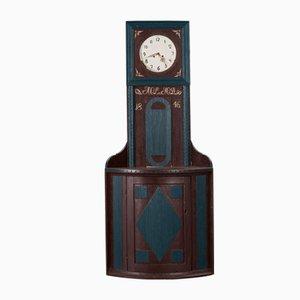 Orologio mora antico con mobiletto ad angolo, 1846