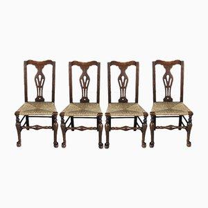 Antike Esszimmerstühle aus Ulme & Eiche mit Binsengeflecht, 4er Set