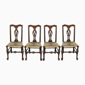 Antique Elm & Oak Rush Dining Chairs, Set of 4