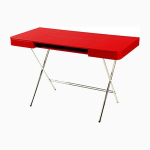 Cosimo Desk with Red Glossy Lacquered Top by Marco Zanuso Jr. for Adentro, 2017