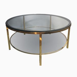 Round Vintage Brass Coffee Table