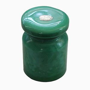 Art Deco Malachite Glass Containers from Jablonec nad Nisou, Set of 6