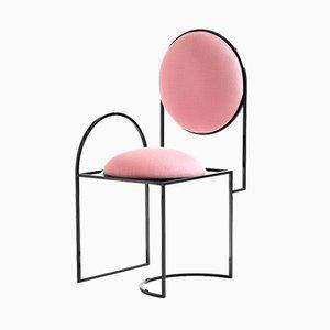 Sedia Solar in acciaio e lana rosa di Bohinc Studio