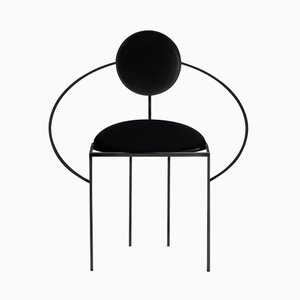 Orbit Chair in Steel & Black Wool by Bohinc Studio