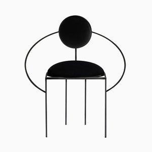Sedia Orbit in acciaio e lana nera di Bohinc Studio