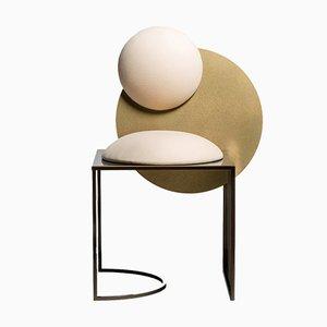 Sedia Celeste in acciaio e lana di Bohinc Studio