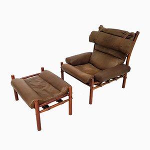 Vintage Inca Stuhl & Fußhocker von Arne Norell für Norell Mobler