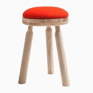 Juego Ninna de taburete de fresno natural con asiento de lana roja de Carlo Contin para Adentro