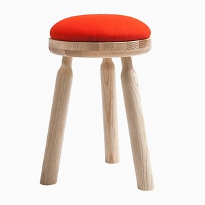 Ninna Stool in Natural Ash with Red Wool Seat by Carlo Contin for Adentro