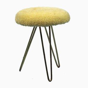 Sgabello in pelle di agnello con gambe a graffetta, anni '50
