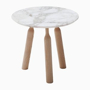 Ninna Round Side Table in Ash with Marble Top by Carlo Contin for Adentro