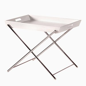 Miami Side Table With Chromed Frame U0026 White Lacquered Tray By Marco Zanuso  Jr. For