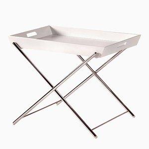 Tavolino Miami con vassoio laccato bianco e struttura cromata di Marco Zanuso Jr. per Adentro, 2016