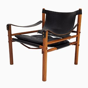 Sirocco Leather & Rosewood Easy Chair from Arne Norell, 1960s