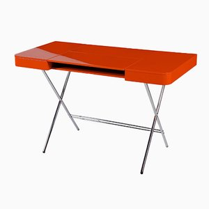 Cosimo Desk with Orange Glossy Lacquered Top by Marco Zanuso Jr. for Adentro, 2017