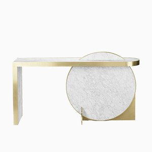 Collision Console in Marble with Brass by Bohinc Studio