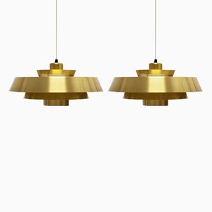Nova Brass Pendant Light by Jo Hammerborg for Fog & Mørup, 1960s, Set of 2