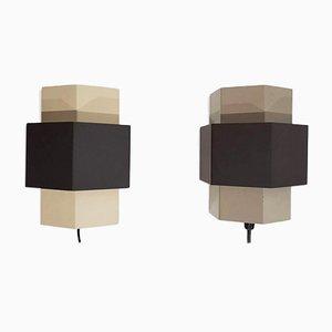 Geometrische Wandlampen von Anvia, 1960er, 2er Set