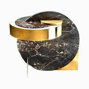 Full Moon Side Table in Marble with Brass by Bohinc Studio