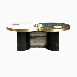 Sun and Moon Coffee Table in Marble with Brass by Bohinc Studio