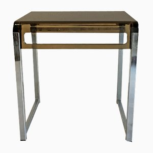 Small Smoked Plexiglas & Metal Side Table, 1970s
