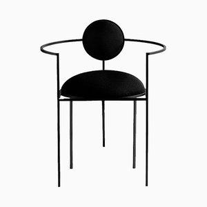 Sedia Lunar in acciaio e lana nera di Bohinc Studio