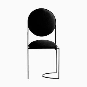 Sedia Solar in acciaio e lana nera di Bohinc Studio