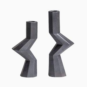 Fortress Militia Candlesticks in Iron Ceramic by Bohinc Studio, Set of 2