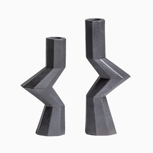 Fortress Militia Kerzenständer aus Eisen & Keramik von Bohinc Studio, 2er Set