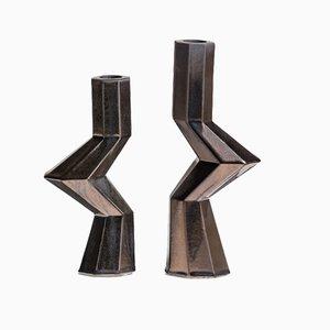 Fortress Militia Candlesticks in Bronze Ceramic by Bohinc Studio, Set of 2