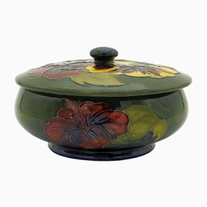 Hibiscus Bowl with Lid by Walter Moorcroft, 1950s