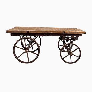 Mesa de centro industrial vintage de hierro y madera