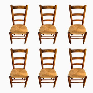 Model 19 Chairs with Open Backs by Charlotte Perriand, 1950s, Set of 6