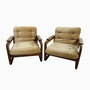 Teak & Velvet Easy Chairs, 1970s, Set of 2