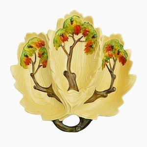 Britische Eichenbaum Dreier Schale von Carlton Ware, 1930er
