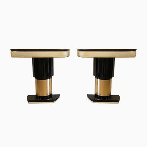 Parchment & Gold Leaf Console Tables, 1940s, Set of 2
