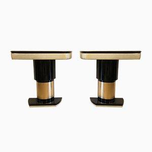 Table Console en Parchemin & Feuille Dorée, 1940s, Set de 2