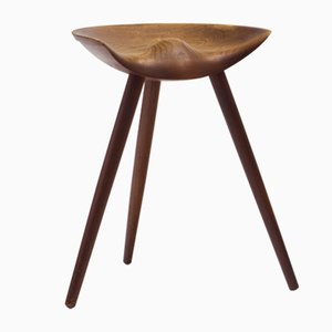 Solid Teak Stool by Mogens Lassen for K. Thomsen, 1940s