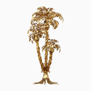Large Brass & Gilt Metal Three-Trunk Palm Tree Floor Lamp by Hans Kögl, 1970s