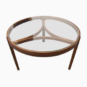 Dreibeiniger Mid-Century Couchtisch aus Glas, 1960er