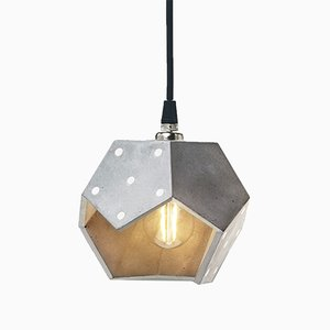 Basic TWELVE Duo Silver Concrete Pendant Lamp from Plato Design