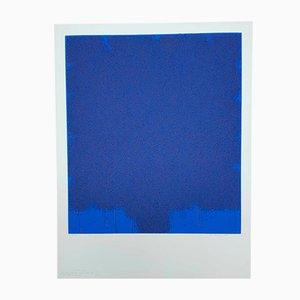 Blaue Vintage Lithografie von Bernd Berner, 1972