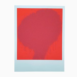 Rote Vintage Lithografie von Bernd Berner, 1972